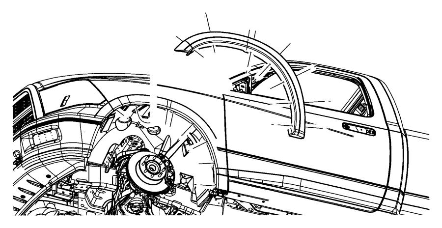 2010 Dodge Ram 2500 Molding. Wheel opening flare. Front