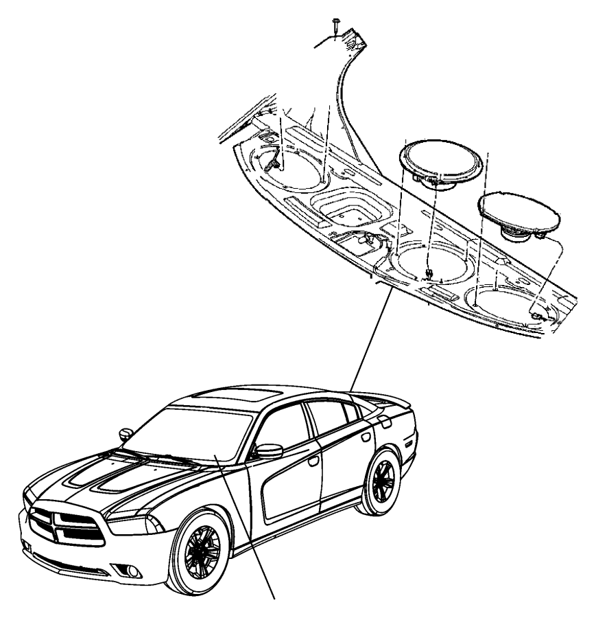 2017 Dodge Challenger Speaker. Sub woofer. Rear. Rdh