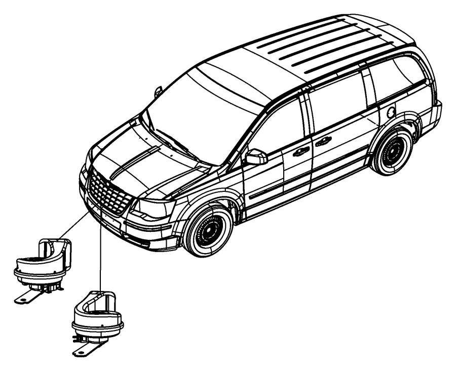 2014 Dodge Grand Caravan Horn and bracket. Export. High