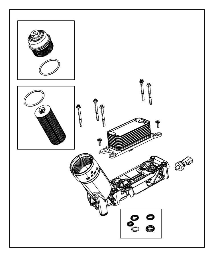 Dodge Grand Caravan Cap kit. Oil filter housing. [engine