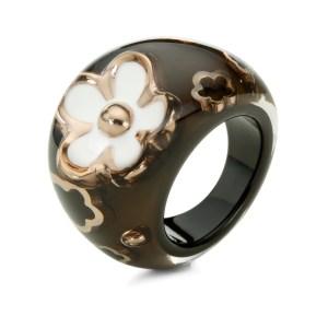 FOLLI FOLLIE - Φαρδύ δαχτυλίδι Folli Follie καφέ με επιχρυσωμένα λουλούδια