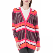 JUICY COUTURE - Γυναικεία ριγέ ζακέτα berenson stripe long card Juicy Couture ροζ