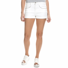 JUICY COUTURE - Γυναικείο τζιν σορτς Juicy Couture STUDDED MID RISE λευκό