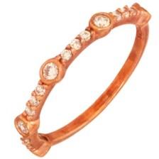 JEWELTUDE - Ασημένιο ρόζ επιχρυσωμένο δαχτυλίδι Μισόβερο