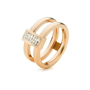 FOLLI FOLLIE - Επιχρυσωμένο ροζ διπλό δαχτυλίδι Folli Follie MATCH & DAZZLE
