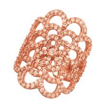 JEWELTUDE - Γυναικείο ροζ επιχρυσωμένο δαχτυλίδι Δαντέλα