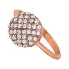 JEWELTUDE - Γυναικείο ασημένιο ρόζ επιχρυσωμένο δαχτυλίδι Κύκλος