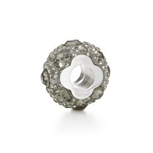FOLLI FOLLIE - Επάργυρο μικρό παντατίφ Folli Follie MATCH & DAZZLE με γκρι κρυστάλλινες πέτρες
