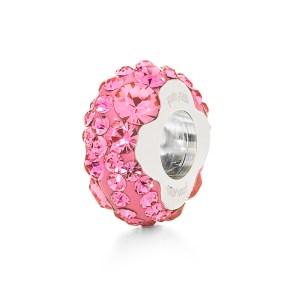 FOLLI FOLLIE - Επάργυρο στενό παντατίφ Folli Follie MATCH & DAZZLE με φούξια κρυστάλλινες πέτρες