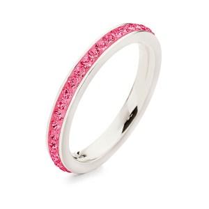 FOLLI FOLLIE - Επάργυρο στενό δαχτυλίδι Folli Follie MATCH & DAZZLE με φούξια κρυστάλλινες πέτρες