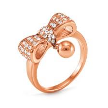 FOLLI FOLLIE - Επιχρυσωμένο ροζ δαχτυλίδι Folli Follie BOW με φιόγκο