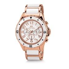 FOLLI FOLLIE - Γυναικείο ρολόι χρονογράφος Folli Follie με λευκό μπρασελέ από καουτσούκ