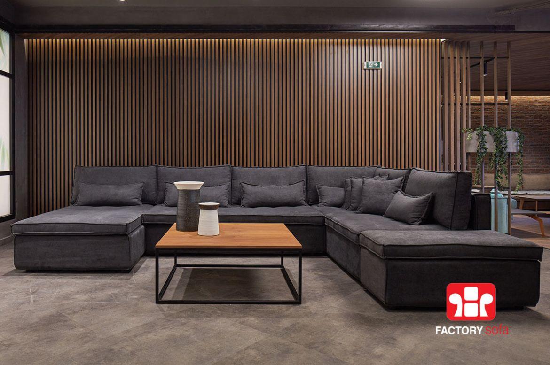 Σαλόνι Γωνία Naxos σε σχήμα Πι | Σαλόνια Καναπέδες Factory Sofa Προσφορές