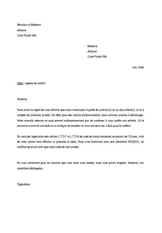 image modele courrier resiliation modele cv