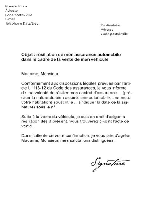 avis model lettre de resiliation assurance lettre type