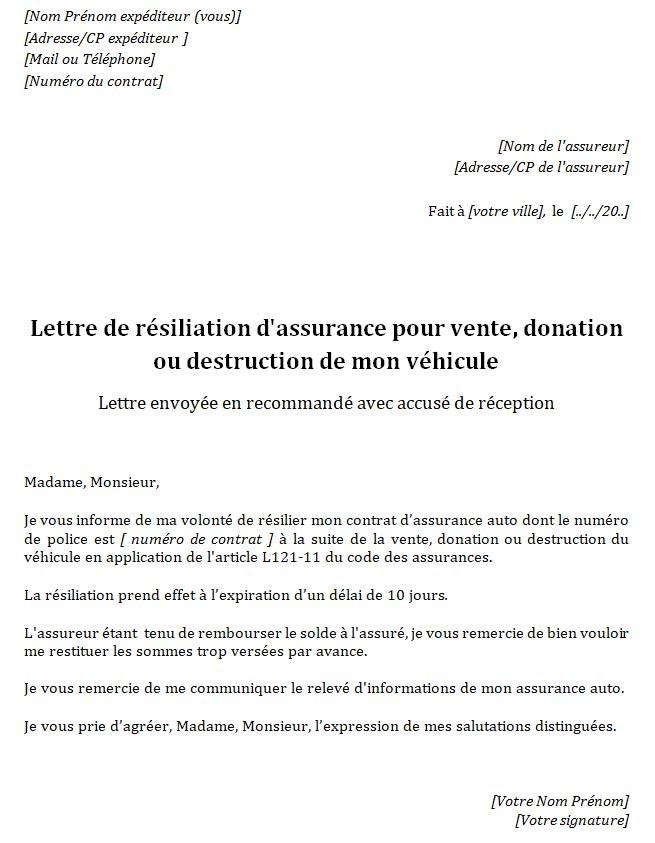 lettre type resiliation assurance auto suite vente vehicule
