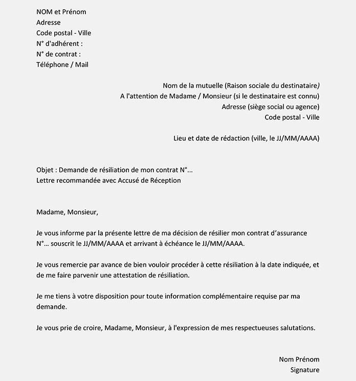 image lettre resiliation mutuelle obligatoire employeur modele cv