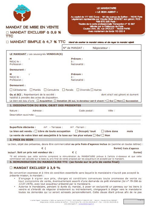 modele lettre resiliation contrat vente exclusivite
