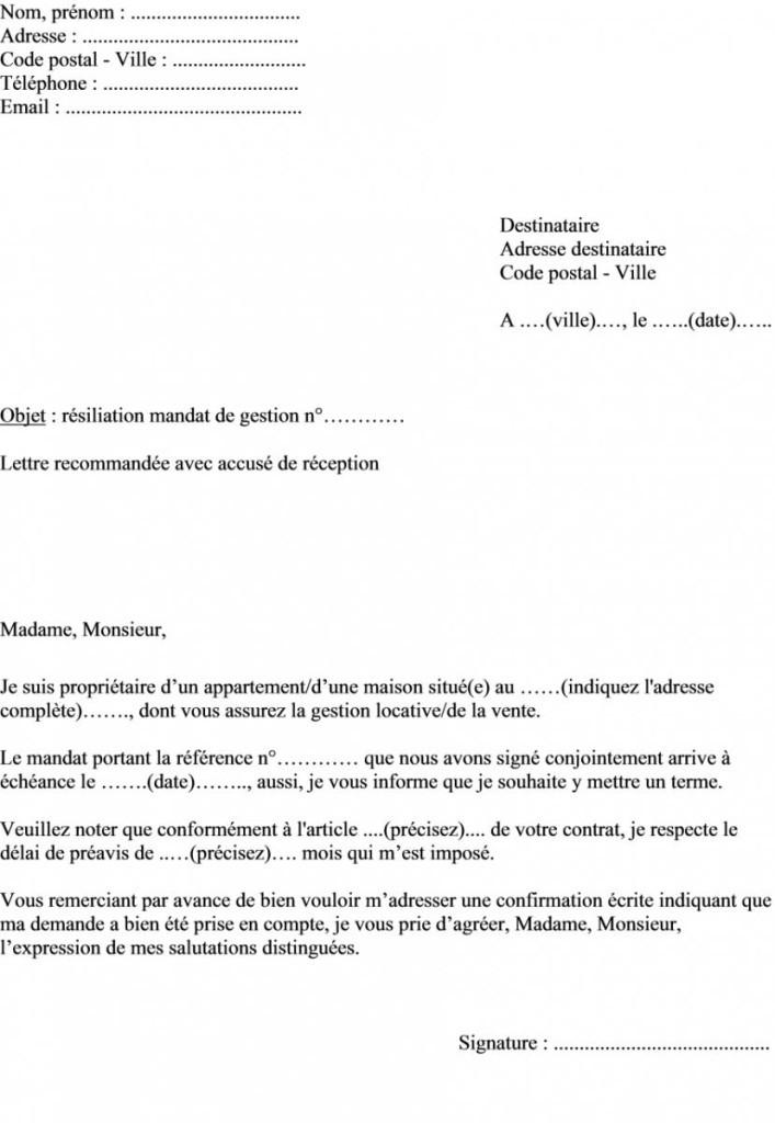 image lettre de resiliation d un mandat de vente exclusif immobilier lettre de presentation