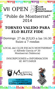 cartel torneo ajedrez  Montserrat