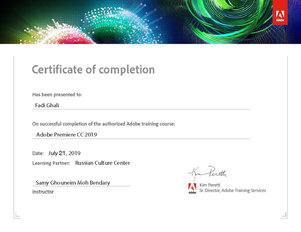 Adobe Premiere CC 2019 Certificate of Authorized Training Course Completion by ADOBE for Fadi Ghali