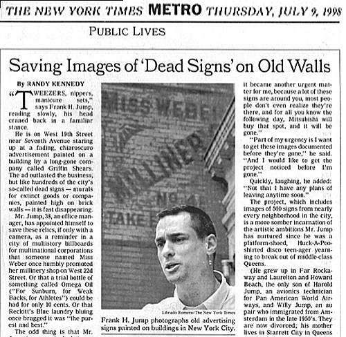 Saving Images of Dead Signs on Walls - by Randy Kennedy - Public Lives - NY Times July 9, 1998