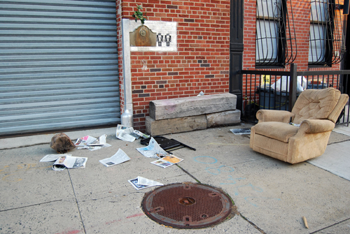 Human Pair In Open Air Messy Living Room - Red Hook, Brooklyn