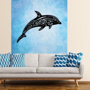 décoration murale dauphin métal noir