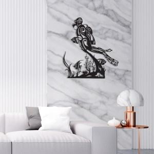 """Décoration murale acier """"Plongeur et coraux"""""""