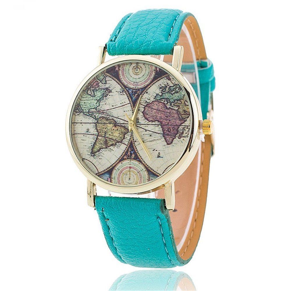 Fashionable Women World Map Watch Fad Pig