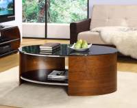 Jual Curve Walnut & Black Glass Coffee Table | Coffee ...