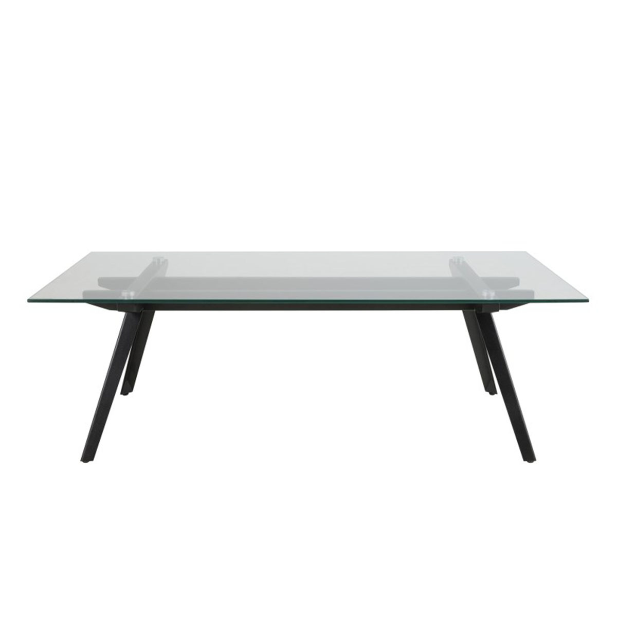 clear glass coffee table with black metal legs