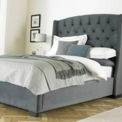 Childrens Upholstered Chairs Glider Chair Plans Buckingham Tall Wing Headboard Grey Velvet Bed Frame   Fads