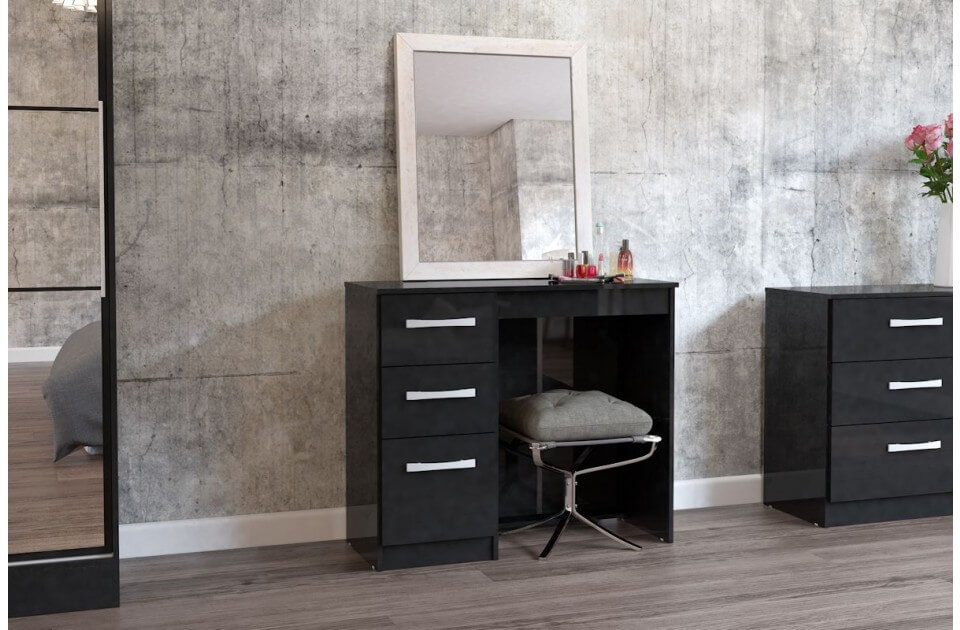 lynx black dressing table high gloss assembled bedside tables fads