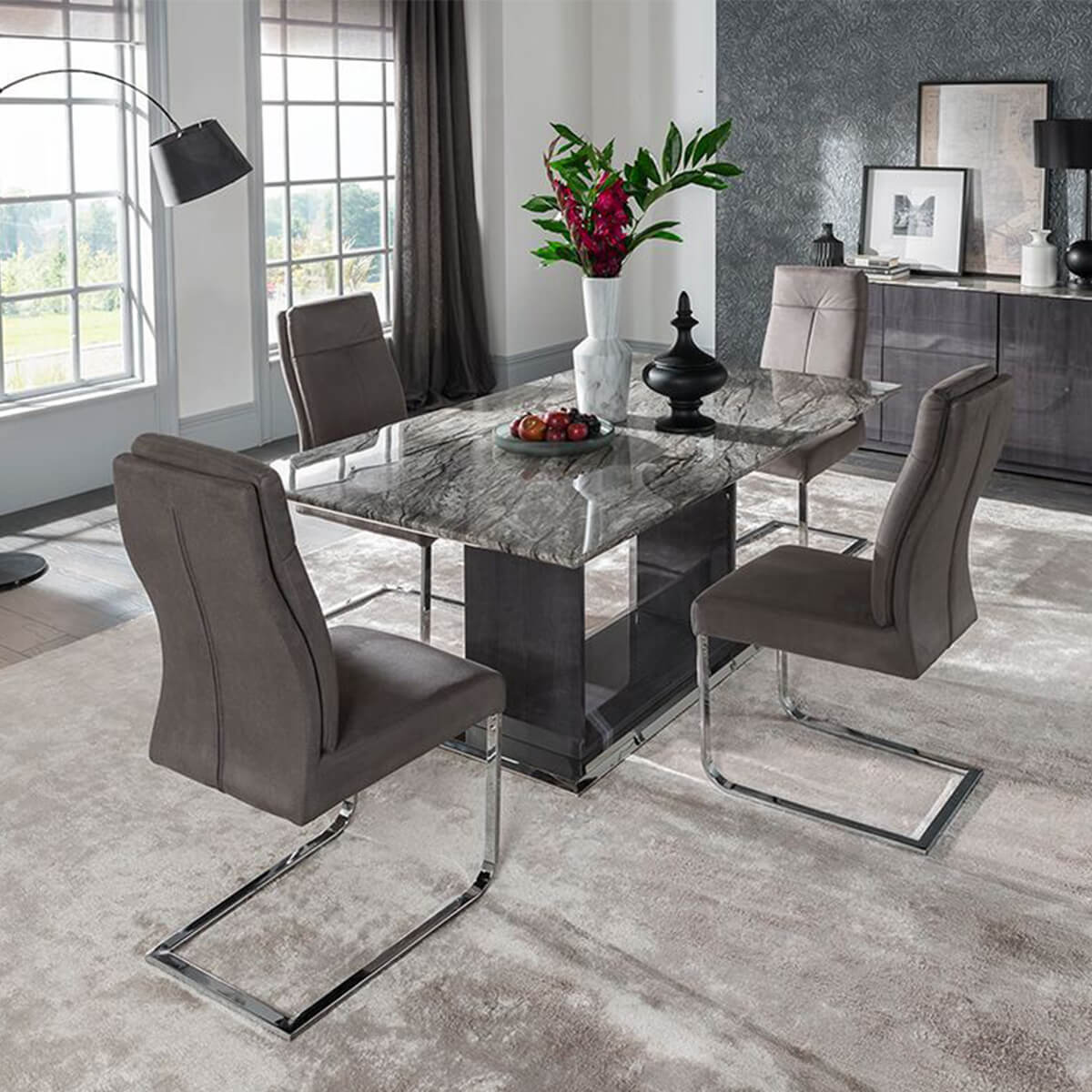 grey living room set window valances for rooms rina marble dining table modern fads 4 to 8 seater