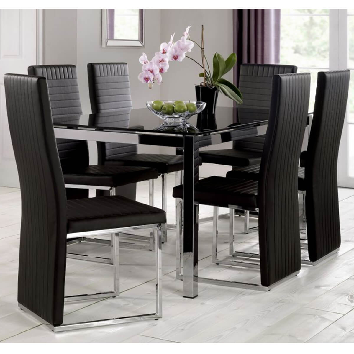 Tempo Black Dining Table With Black Chairs Fads