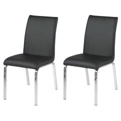 Faux Leather Dining Chairs Leonora Black