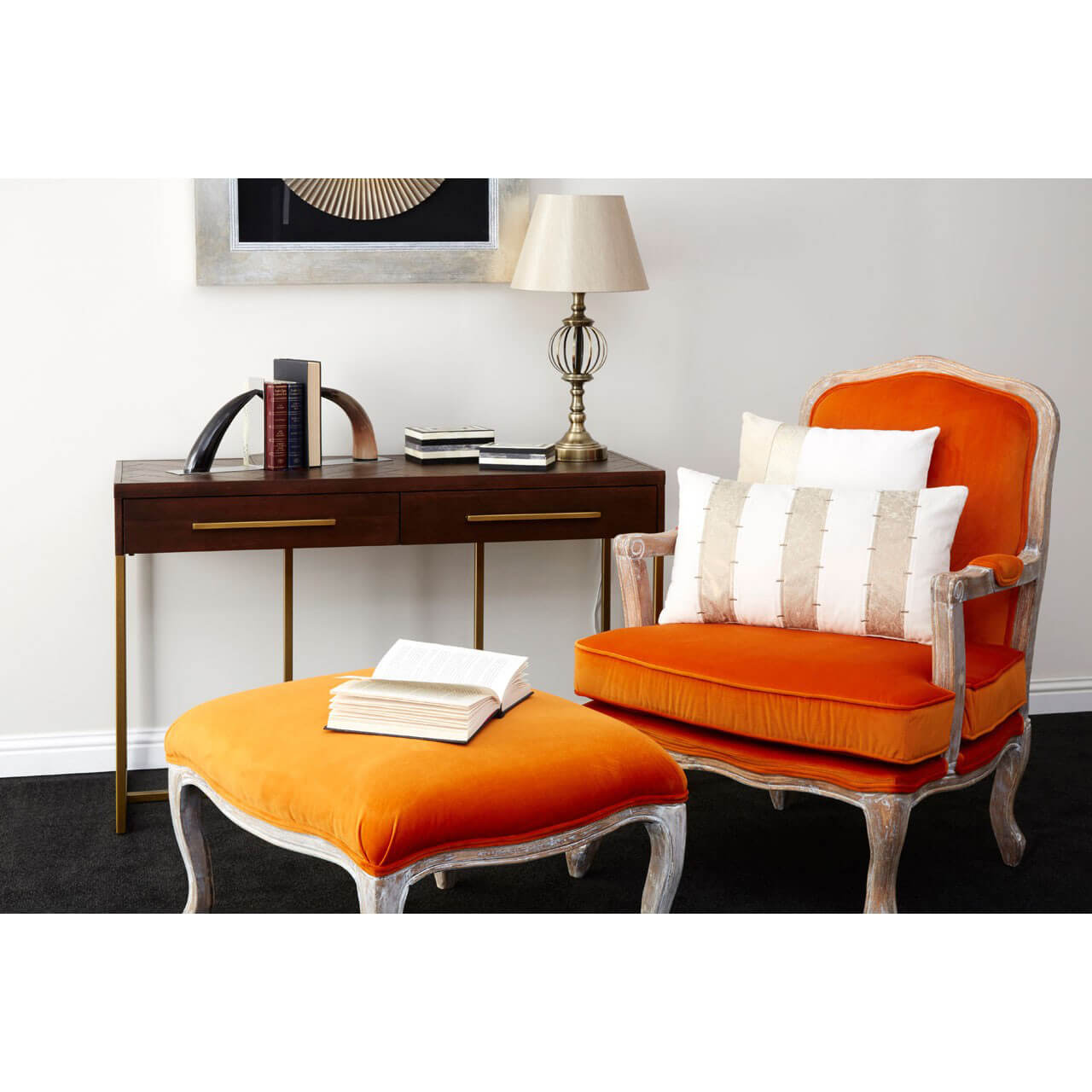 burnt orange chair uk massage prices baroque armchair and footstool black grey velvet fads