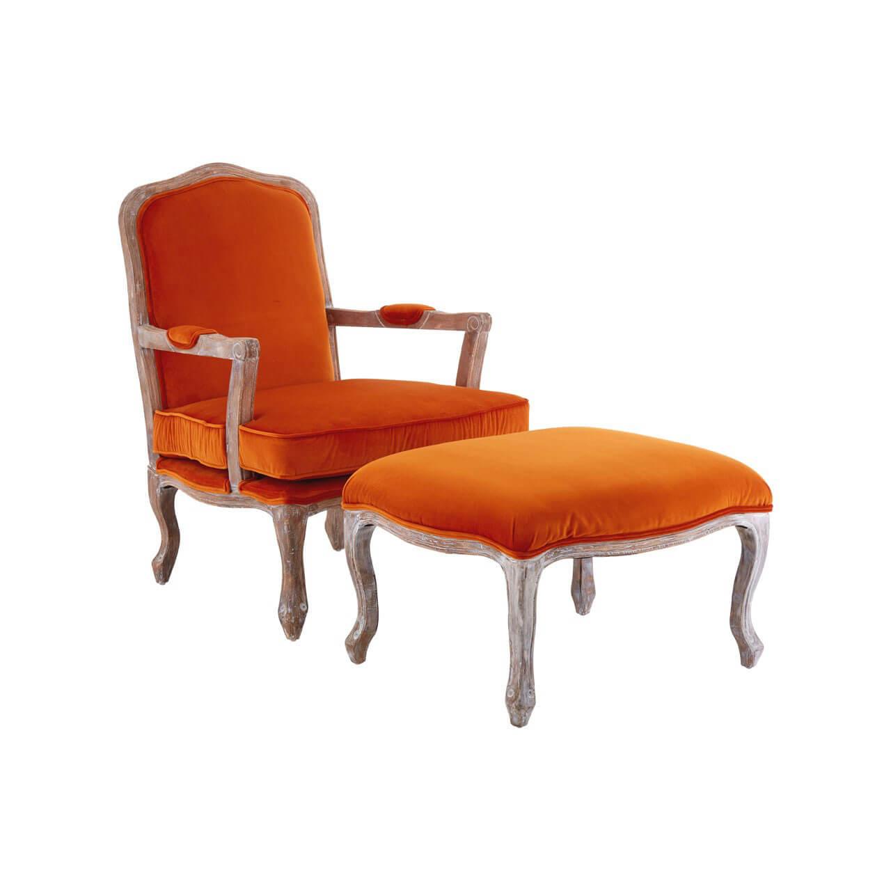 burnt orange armchair uk pallet chair plans baroque and footstool black grey velvet fads