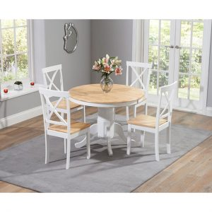 oak and white dining chairs cheap black chair covers nagano scandi style set with coloured fads ashley round table 4