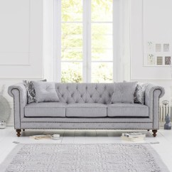 Chesterfield Sofa Material Vintage Rattan Set Juliette Grey Fabric 3 Seater Fads