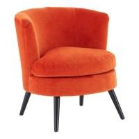 Orange Plush Velvet Round Armchair - Dark Wooden Legs | FADS