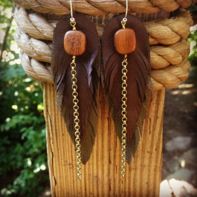 Recycled Leather Feather Earrings with Bayong Wood | faerwear