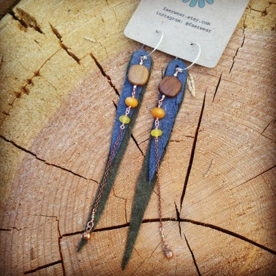 Recycled Suede Leather Feather Earrings with Bayong Wood and Jade | faerwear