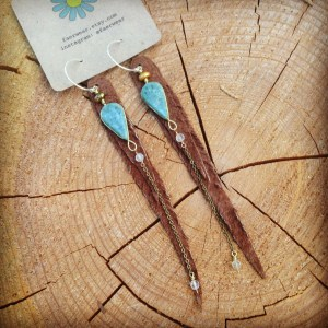 Mexican Jade earrings with brown suede leather feathers | faerwear