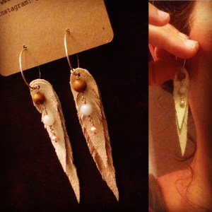 Beige leather earrings with petrified wood, amazonite and freshwater pearls   faerwear