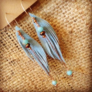 Vegan Light Blue Ultrasuede Seraphim Wing Earrings with Czech and Austrian Crystal | faerwear