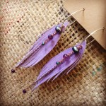 Pale Purple Suede Seraphim Wing Earrings with Gems | faerwear