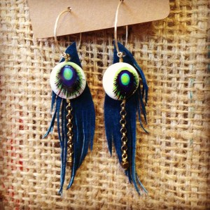 Peacock Teal Suede Seraphim Wing earrings with Painted Shell | faerwear