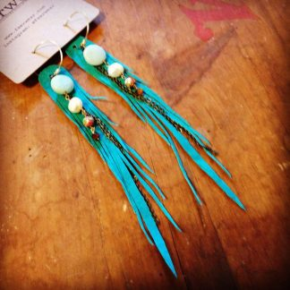 Teal Feather Earrings - Dryad Wings with Amazonite and Cloisonne | faerwear